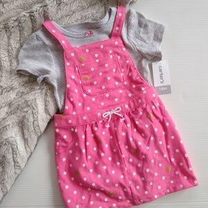 Carter's • 18 mo pink polkadot overall dress set
